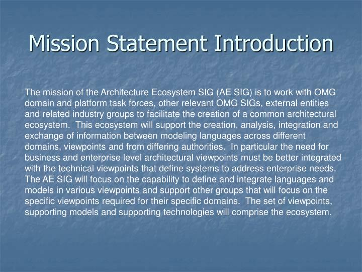Mission Statement Introduction