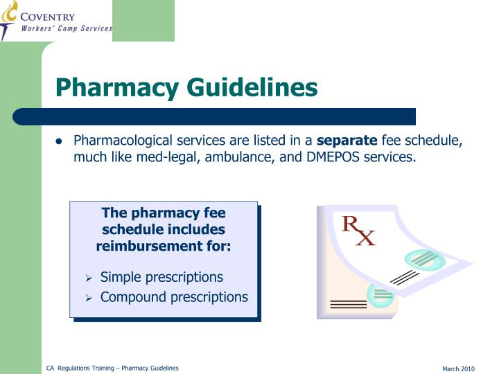 Pharmacological services are listed in a