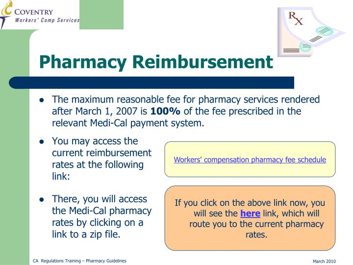 The maximum reasonable fee for pharmacy services rendered after March 1, 2007 is