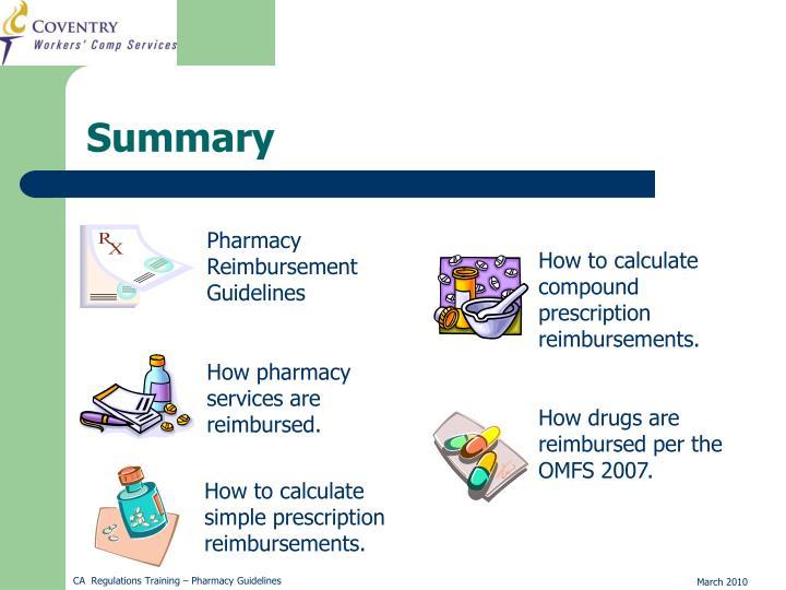 How to calculate compound prescription reimbursements.