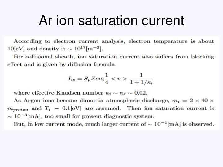 Ar ion saturation current