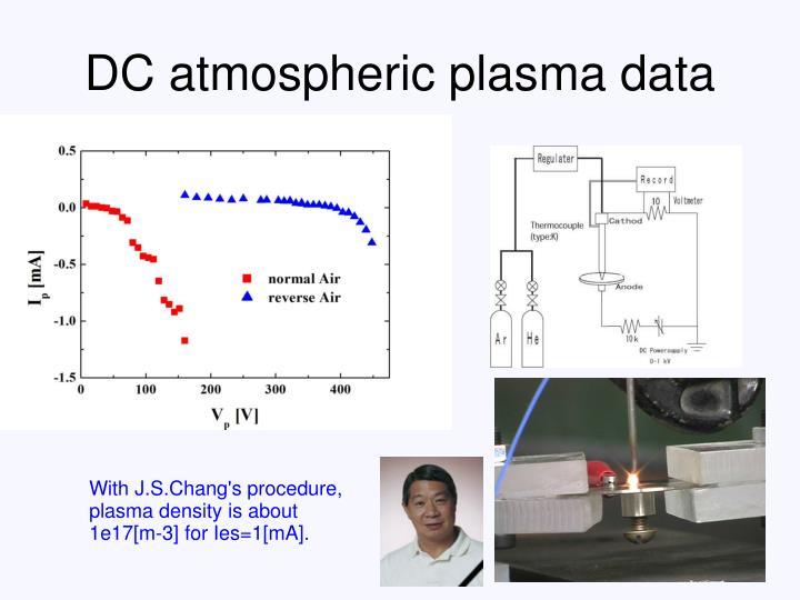 DC atmospheric plasma data