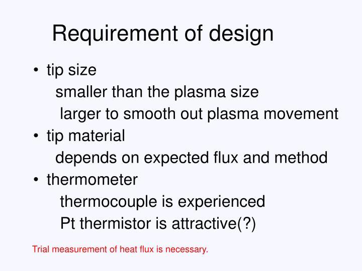 Requirement of design