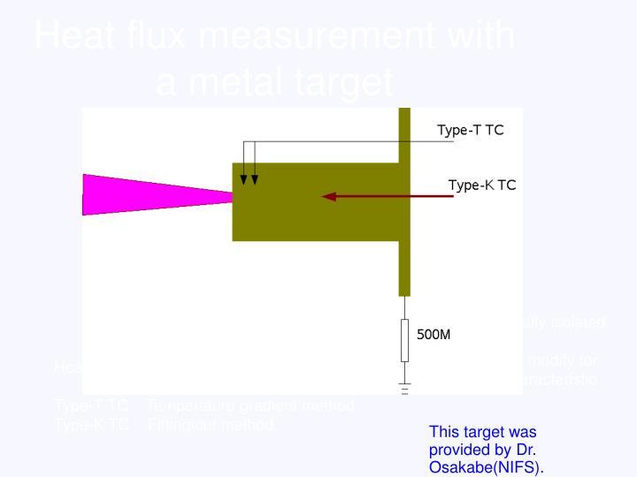 Heat flux measurement with a metal target