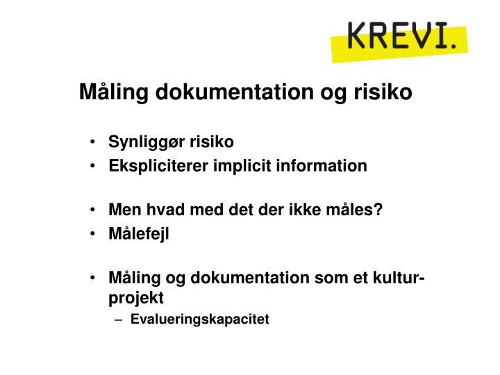 Måling dokumentation og risiko