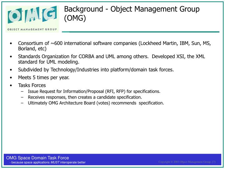 Background - Object Management Group (OMG)