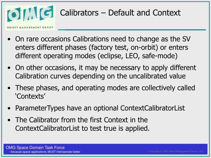 Calibrators – Default and Context