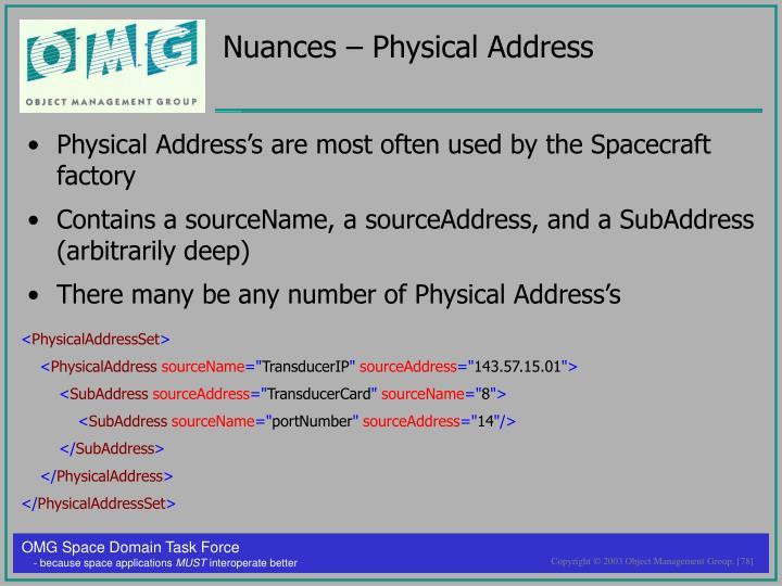 Nuances – Physical Address