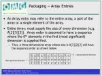 packaging array entries