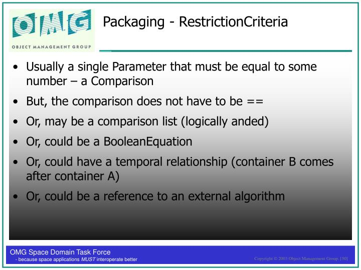 Packaging - RestrictionCriteria