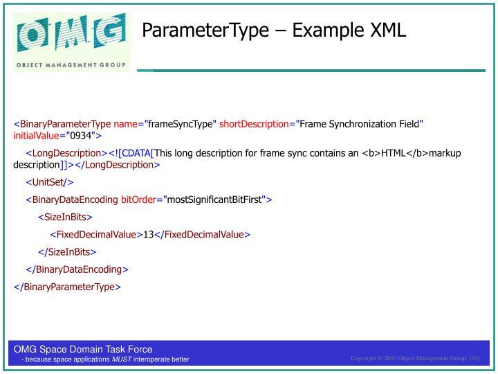 ParameterType – Example XML