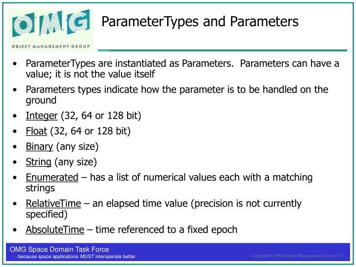 ParameterTypes and Parameters