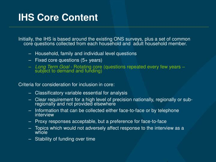 IHS Core Content