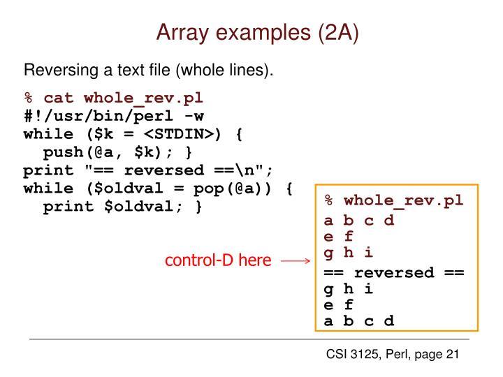 Array examples (2A)