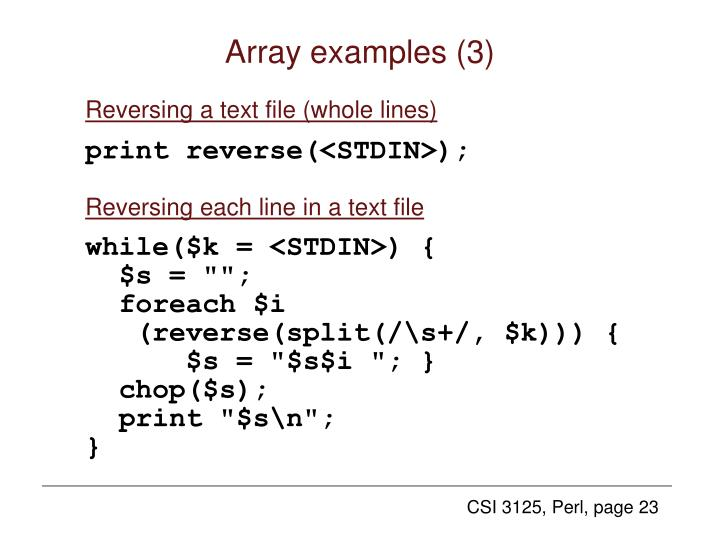 Array examples (3)
