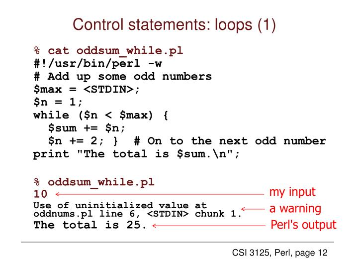 Control statements: loops (1)