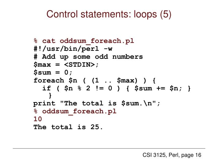 Control statements: loops (5)