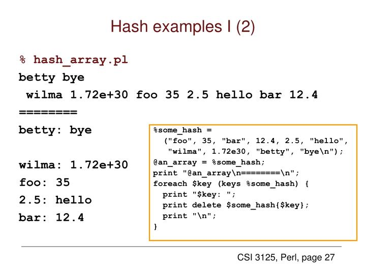 Hash examples I (2)