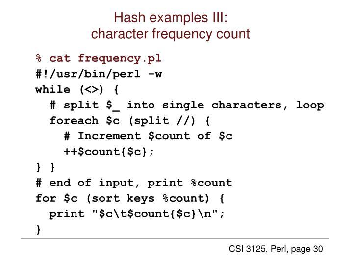 Hash examples III:
