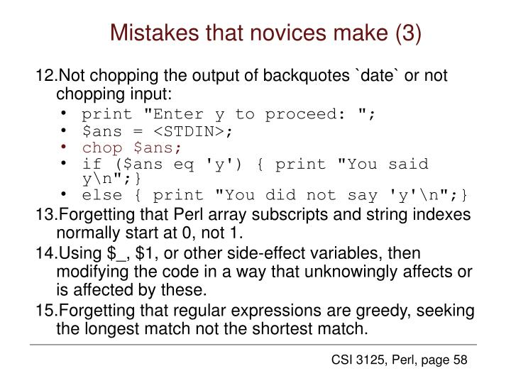 Mistakes that novices make (3)