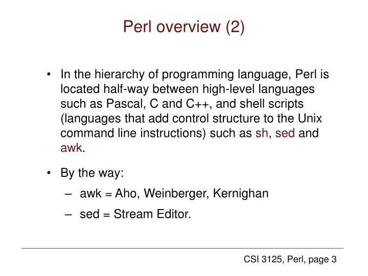 Perl overview (2)