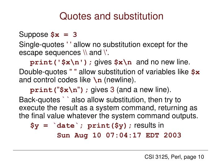 Quotes and substitution