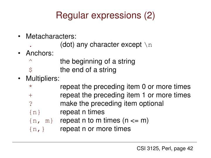 Regular expressions (2)
