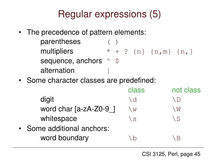 Regular expressions (5)