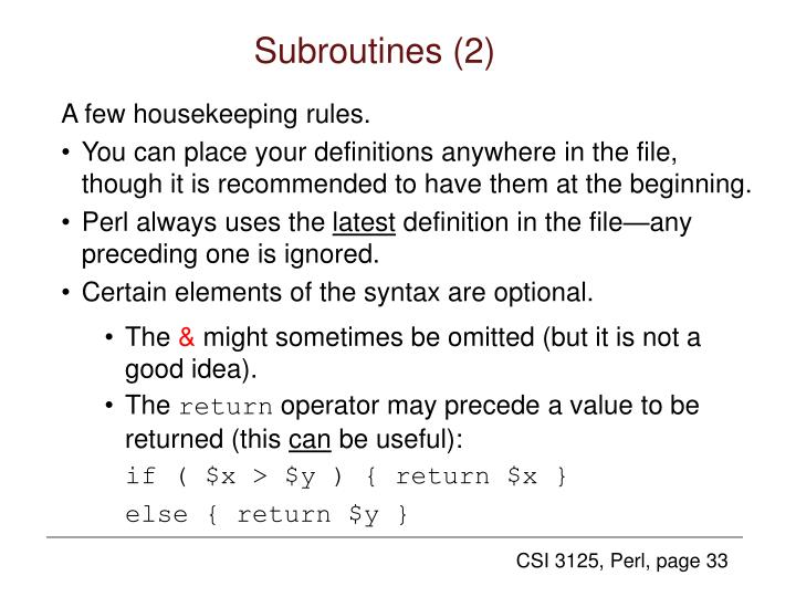 Subroutines (2)
