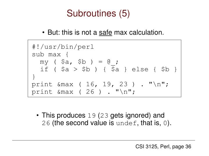 Subroutines (5)