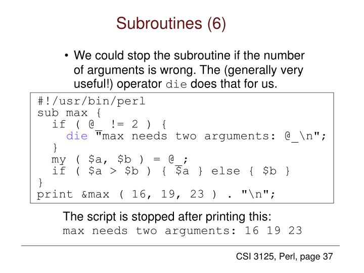 Subroutines (6)