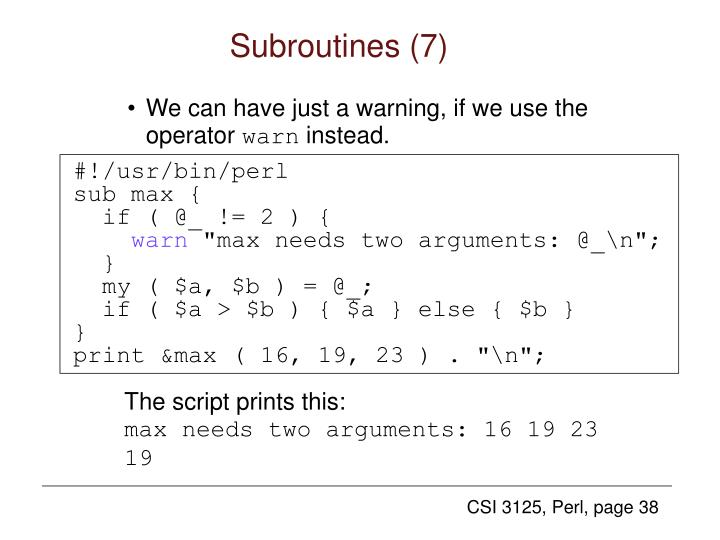 Subroutines (7)