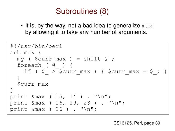 Subroutines (8)