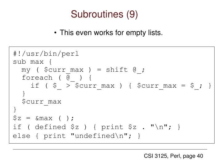 Subroutines (9)