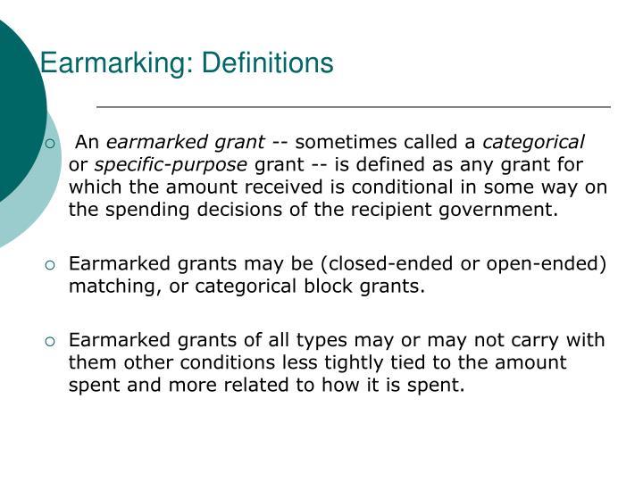 Earmarking: Definitions