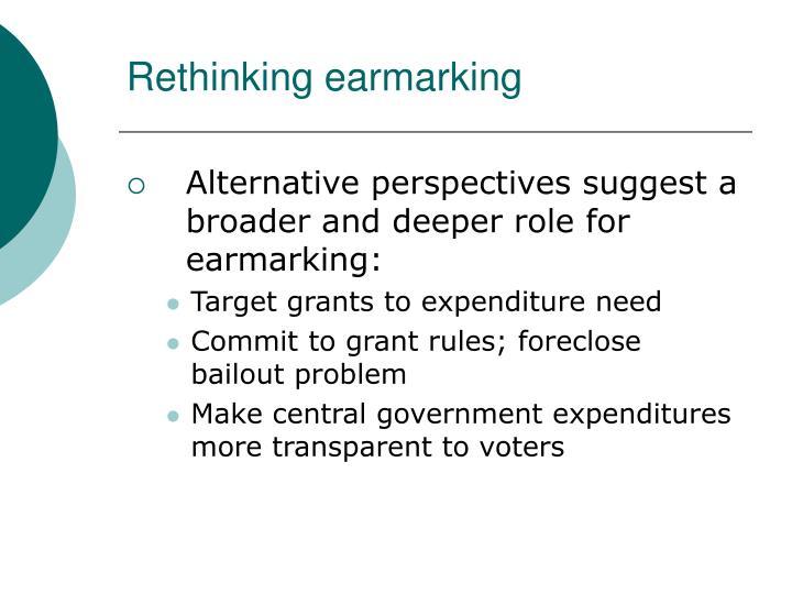 Rethinking earmarking