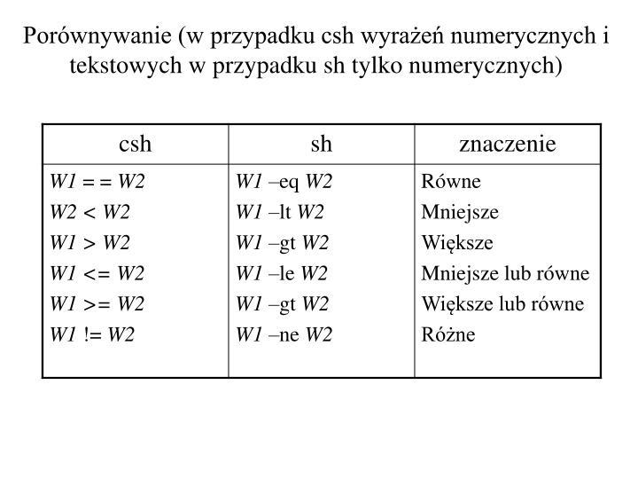 Porównywanie (w przypadku csh wyrażeń numerycznych i tekstowych w przypadku sh tylko numerycznych)
