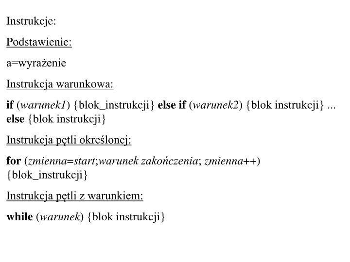 Instrukcje: