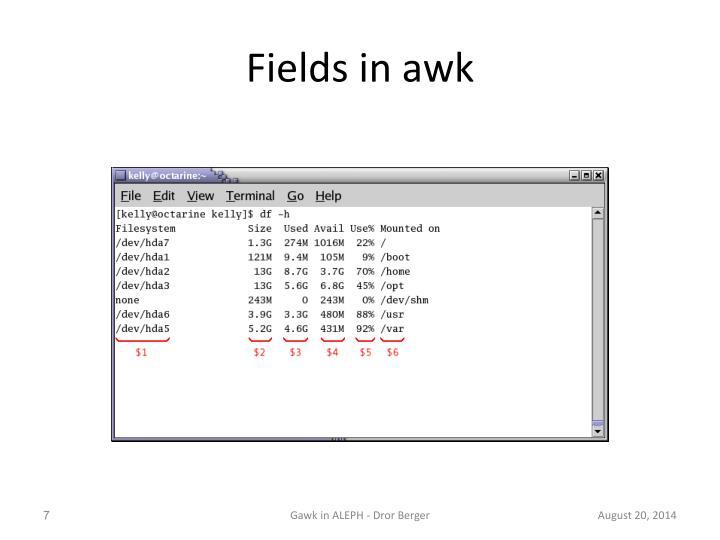 Fields in awk
