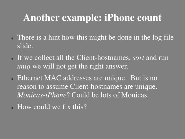 Another example: iPhone count