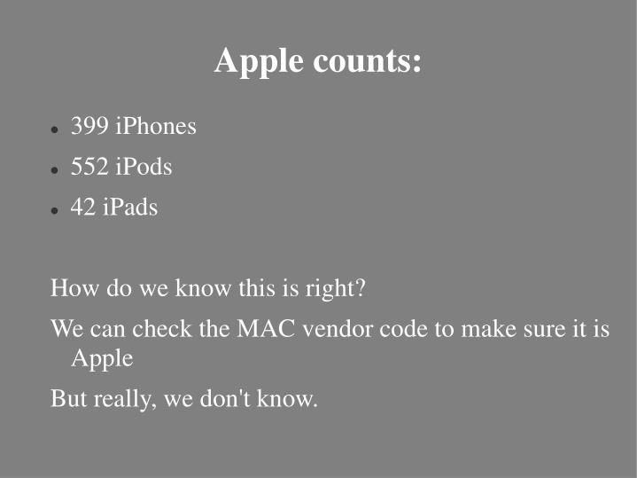 Apple counts: