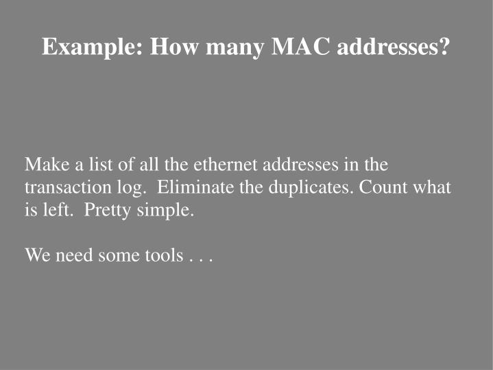 Make a list of all the ethernet addresses in the transaction log.  Eliminate the duplicates. Count what is left.  Pretty simple.