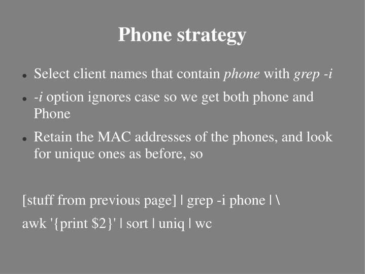 Phone strategy