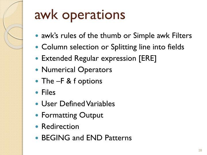 awk operations