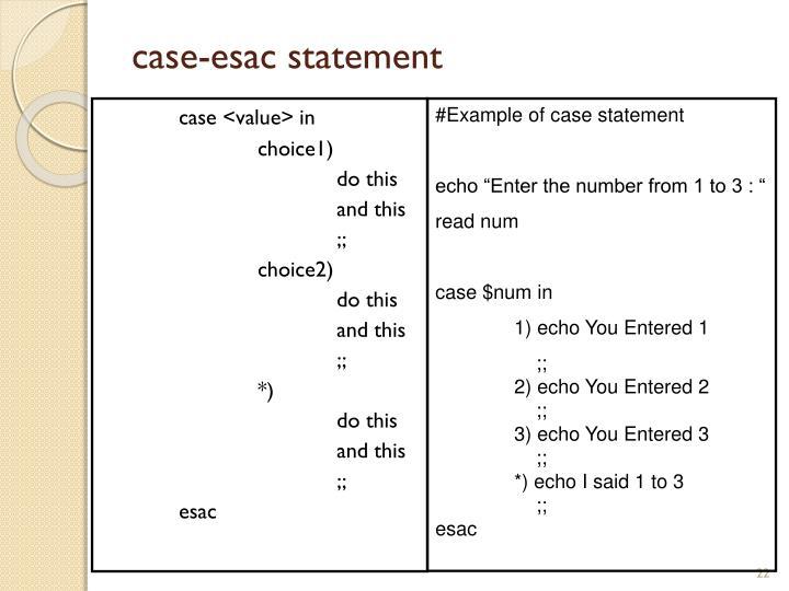 case-esac statement