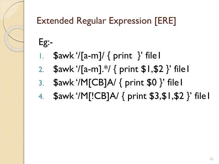 Extended Regular Expression [ERE]