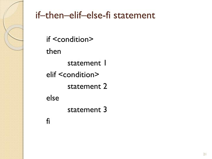 if–then–elif–else-fi statement