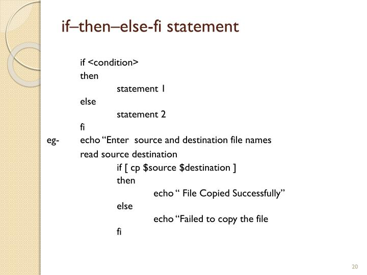 if–then–else-fi statement