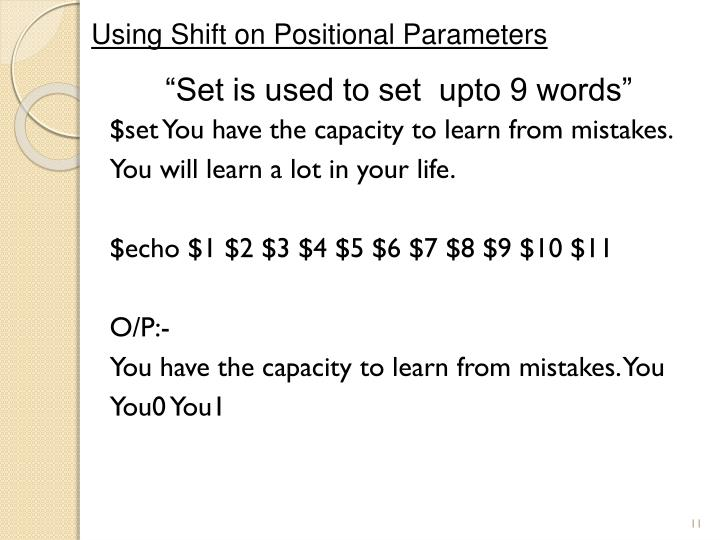 Using Shift on Positional Parameters
