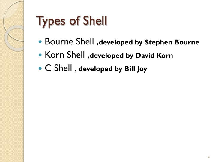 Types of Shell